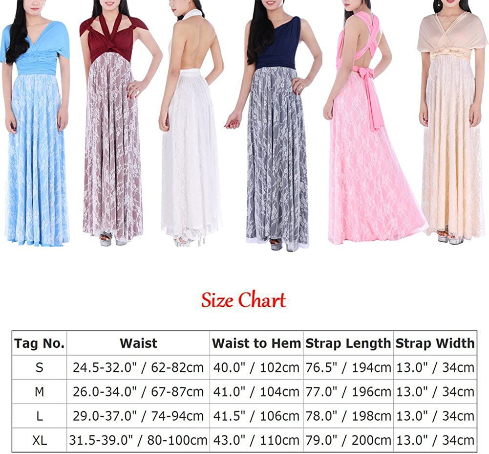 Flower Girl Womens Bridesmaids Elegant Infinity Convertible Wrap Dress Long Maxi Gown Lace Spliced Cocktail Evening Prom Dress Wedding Maternity Summer Dress UK 6-16