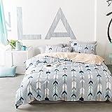 "VClife Full Queen Kids Bedding Sets Geometric Duvet Cover Sets Cotton Romantic Cupid's Arrow Design Bed Comforter Cover Sets, 90"" x 90"", Queen"
