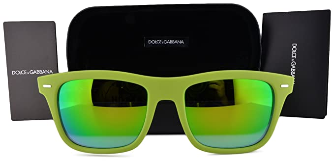 46f5b97652b1 Image Unavailable. Image not available for. Colour  Dolce   Gabbana  Sunglasses DG6095 Acid Green Rubber w Light Blue Mirror Green Lens 299631