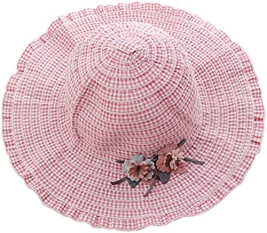 Gentle Meow Straw Hat Children Sunscreen Hat Beach Hat Pretty Girl Wide Brim Viasor Hat Pink