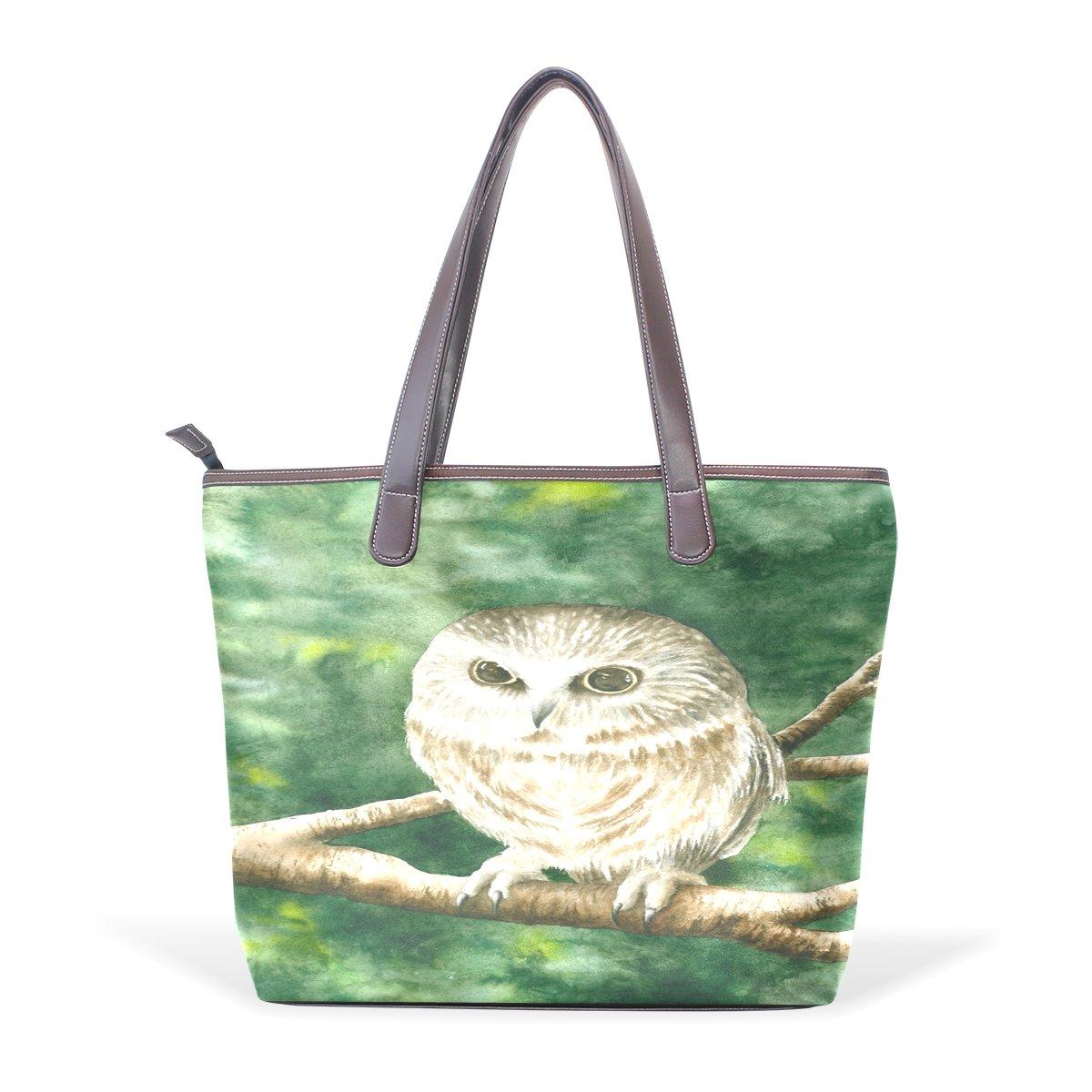 Mr.Weng Household Owl Lady Handbag Tote Bag Zipper Shoulder Bag