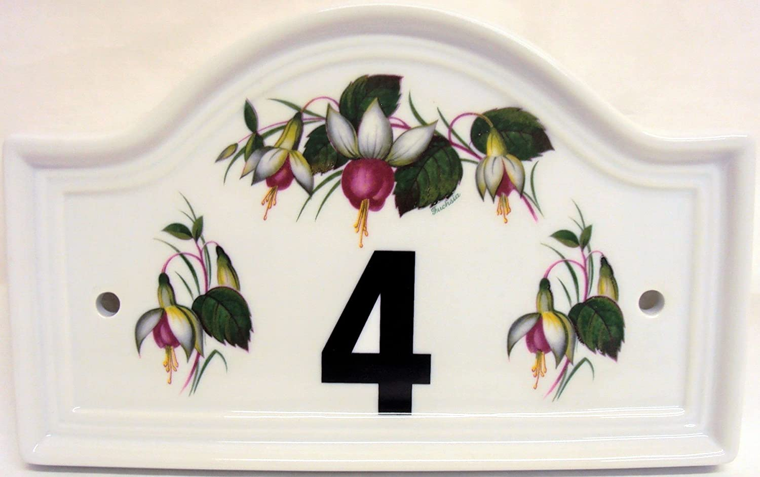 Fuchsia House Door Number Plaque Ceramic Fuchsia House Door Number Sign Any Number Available Hand Decorated in the U.K. Free UK Delivery Rainbow Decors Ltd.