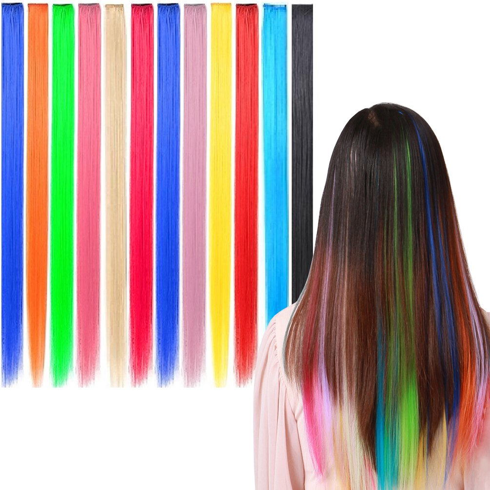 Amazon 6 X Colored Clip On In Hair Extensions Beauty Salon