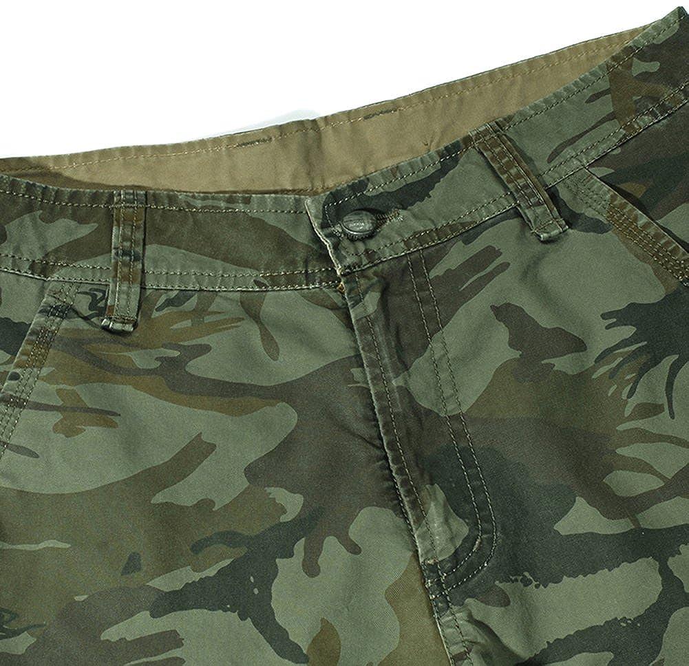Mochoose Hombre Verano Camuflaje Casual Algod/ón Twill Cargo Shorts Multi Pockets Pantalones de Desgaste al Aire Llibre