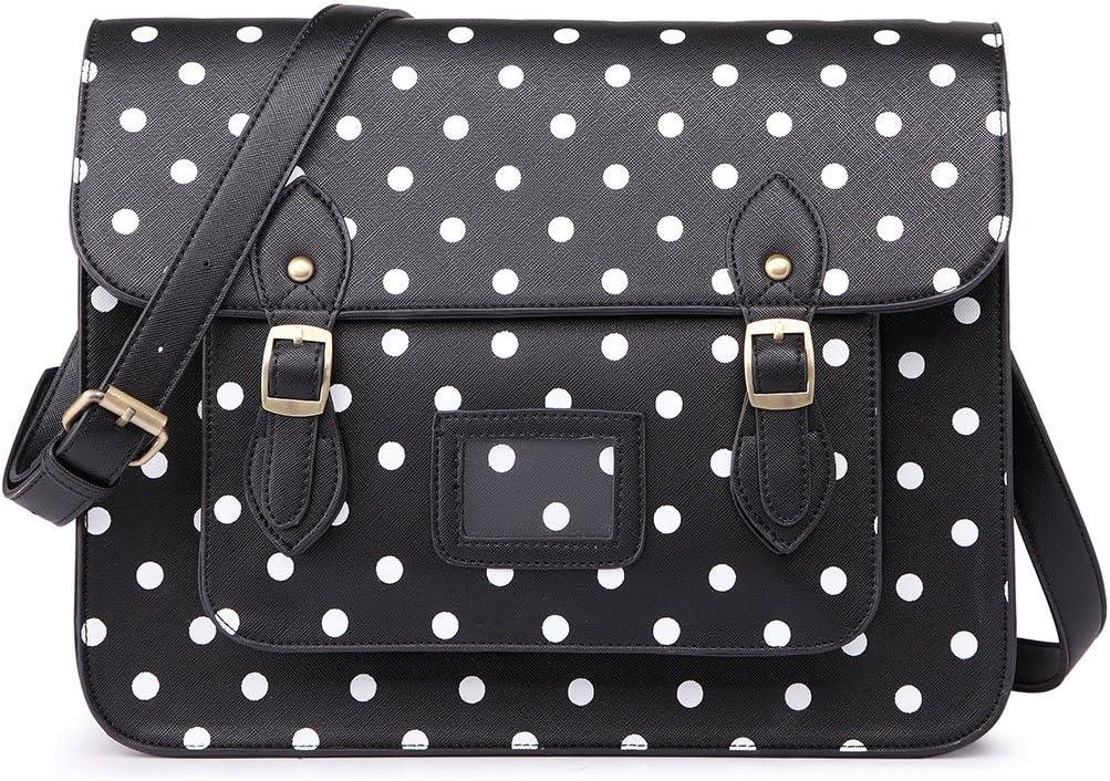 Miss Lulu Brand Diseñador vintage Lunares cuero de imitación Maletín de trabajo Bolso satchel Bolsa para la escuela