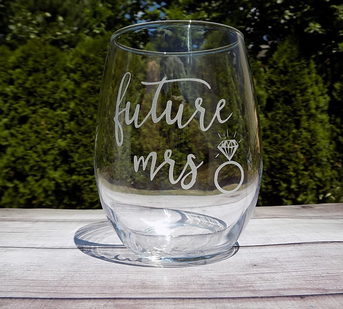 Future Mrs Glass, Wine Glass for Bride to Be, 20oz Etched Wine Glass