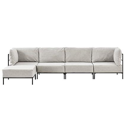 [en.casa]® Sofá de 4 plazas beige - modular - decorativo - armazón + cojines tapizados - máximo confort