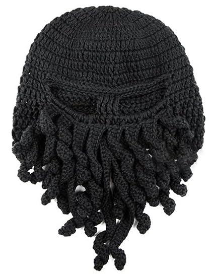 dac85761f8d Dasior Tentacle Octopus Cthulhu Knit Beanie Hat Windproof Beard Ski Mask  Black