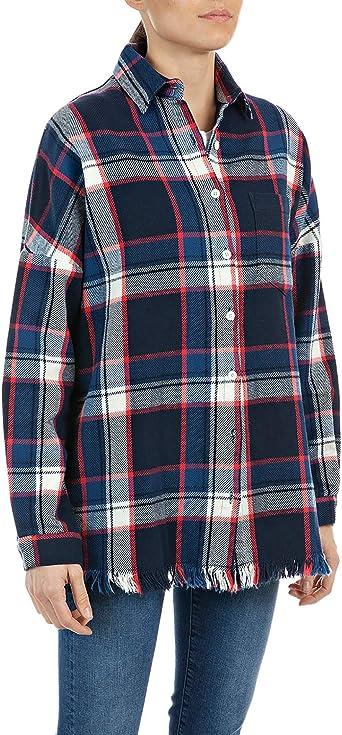 Replay Camisa a cuadros con bordes desgastados para mujer ...