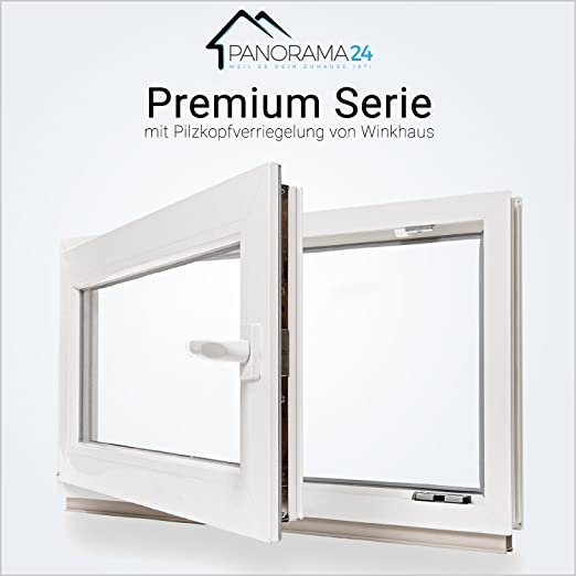 Premium Fenster Kellerfenster Kunststofffenster wei/ß ALLE GR/Ö/ßEN BxH:75x80 cm DIN Rechts Dreh-Kipp 3 fach Verglasung