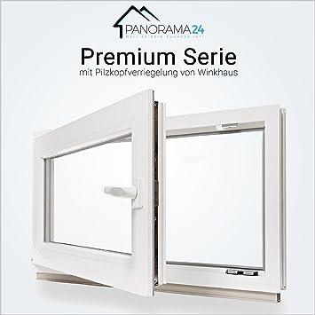 LAGERWARE 60mm Profil Kunststoff DIN links Kellerfenster wei/ß 2-fach-Verglasung Fenster BxH: 95x55 cm verschiedene Ma/ße