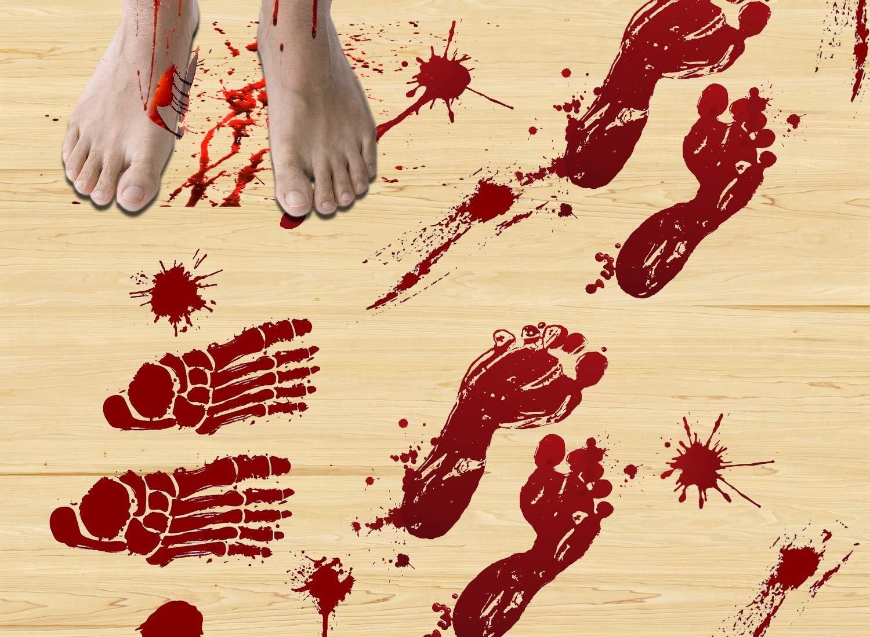 ThreeMay 87PCS Horror Bloody Handprints&Footprints Window Floor Clings, Halloween Decorations Decals Stickers Supplies for Halloween Vampire Zombie Party