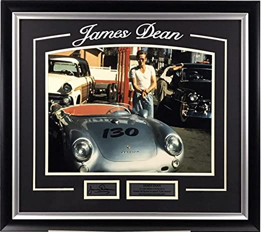 James Dean with Porsche 550 Spyder Framed Photo with Laser