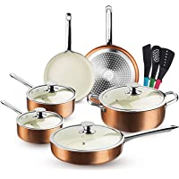FRUITEAM 13-Piece Cookware Set Non-stick Ceramic Coating Cooking Set, Induction Pots Pans Set with Lids, Heavy Duty…