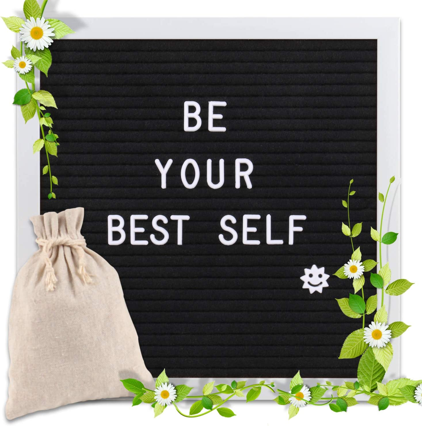 Changeable Letter Board 10x10 inches, Message Sign Board with Canvas Bag, Adjustable Stand,Wall Mount and 340 Letters, Numbers & Symbols (White)
