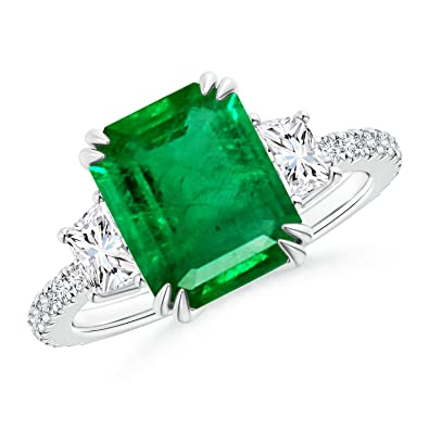 Angara Claw-Set Round GIA Certified Emerald with Diamond Halo lRpEu