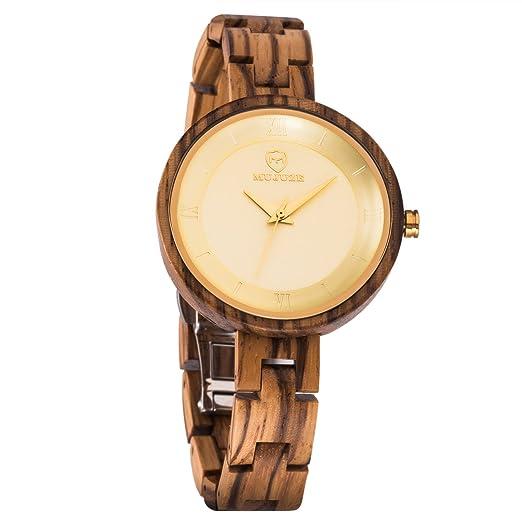 Relojes Madera, MUJUZE Casual Reloj de Pulsera de Poco Peso Mujer Reloj de Cuarzo Analógico Reloj,Banda de Reloj de Madera Cebra: Amazon.es: Relojes
