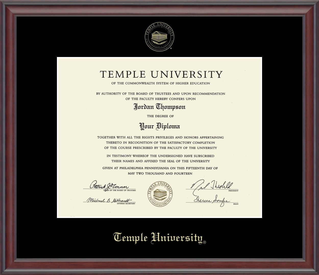 Temple University Gold Embossed Diploma Frame - Features Solid Wood ''Studio'' Moulding - Officially Licensed - 11''h x 14''w Diploma Size - By Church Hill Classics by Church Hill Classics