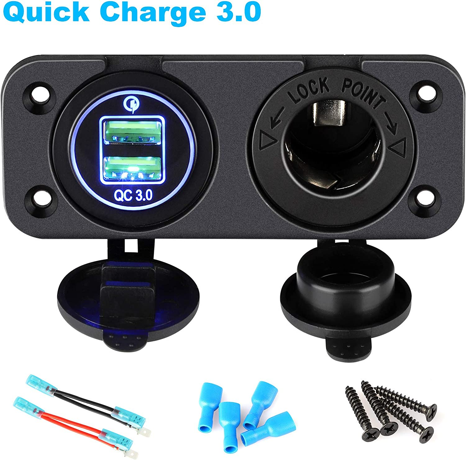 Quick Charge 3.0 Cigarette Lighter Outlet Splitter, 12V Charger Waterproof Power Socket Adapter Control panel, Dual USB Ports with Blue LED & Cigarette Lighter Socket, for 12V/24V Car Boat Marine RV