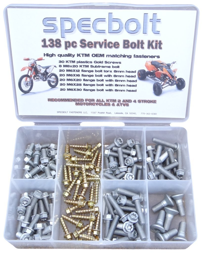 138 pc Specbolt KTM Bolt Kit for Maintenance 50 60 65 85 105 125 250 300 360 380 550 AND 4 STROKES and Service departments SX EX EXC 2 STROKES Restoration 250 350 400 450 500 520 525 530 620 640