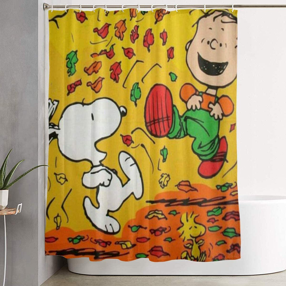 Pooizsdzzz Happy Fall Snoopy Shower Curtain Decor for Men Women Boys Girls 60x72 in