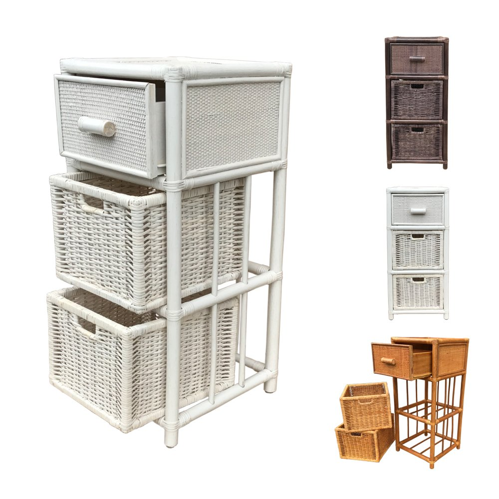 Rattan Nightstand Chest Basket Storage Unit model Dennis with Drawer (White) by Rattan Wicker Home Furniture