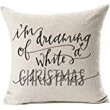 "Dreaming White Christmas Throw Pillow Case Cushion Cover Decor Cotton Linen 18"" x 18"""