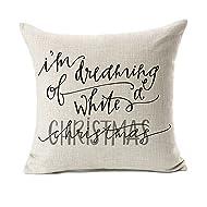 "Dreaming White Christmas Throw Pillow Case Cushion Cover Decor Cotton Linen 18"" x 18"""