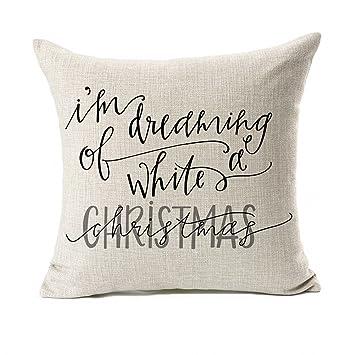 Amazon.com: Soñando White Christmas Throw funda de almohada ...