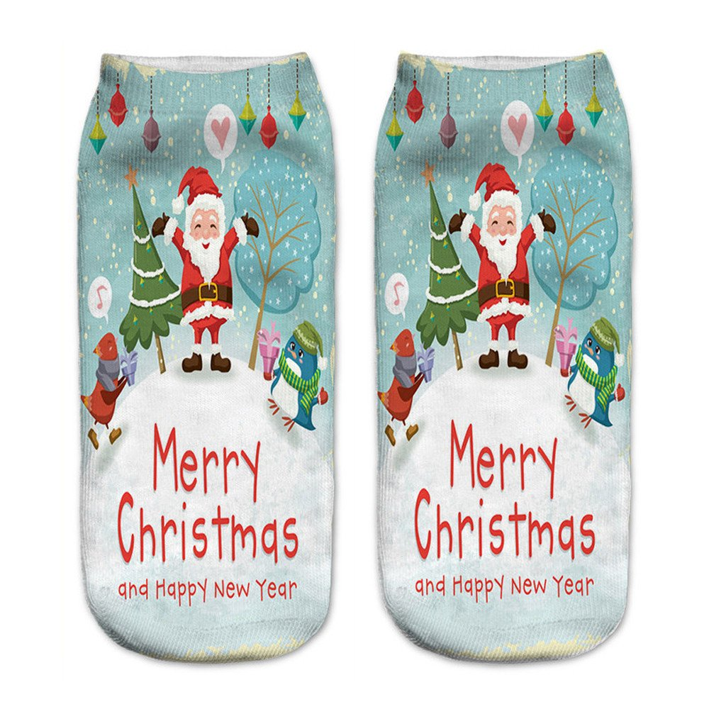 Charberry Unisex Santa Claus 3D Printed Christmas Casual Socks Low Cut Ankle Socks (D)