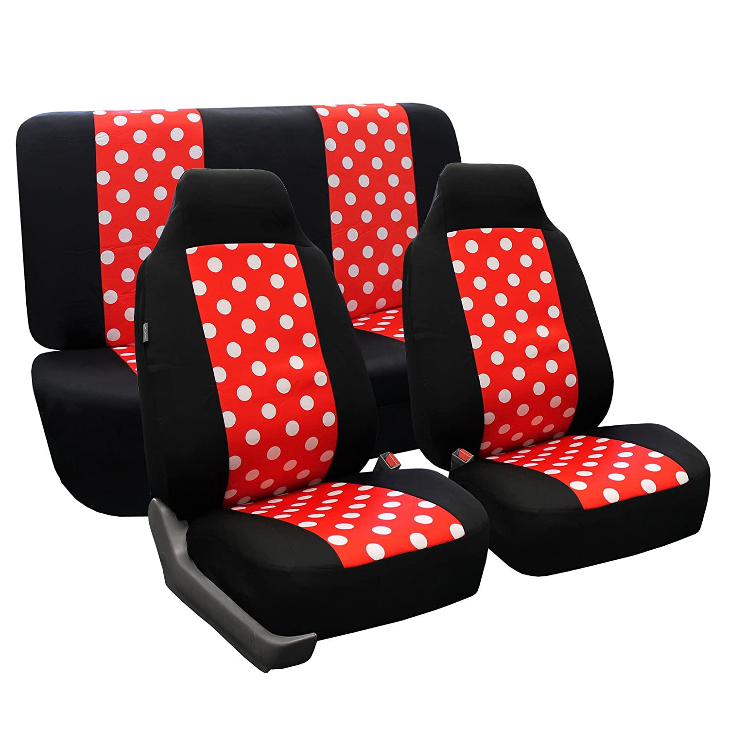 Amazon.com FH GROUP FH-FB115112 Full Set Polka Dots Car Seat Covers for Car Van and SUV Red / Black color Automotive  sc 1 st  Amazon.com & Amazon.com: FH GROUP FH-FB115112 Full Set Polka Dots Car Seat ... markmcfarlin.com