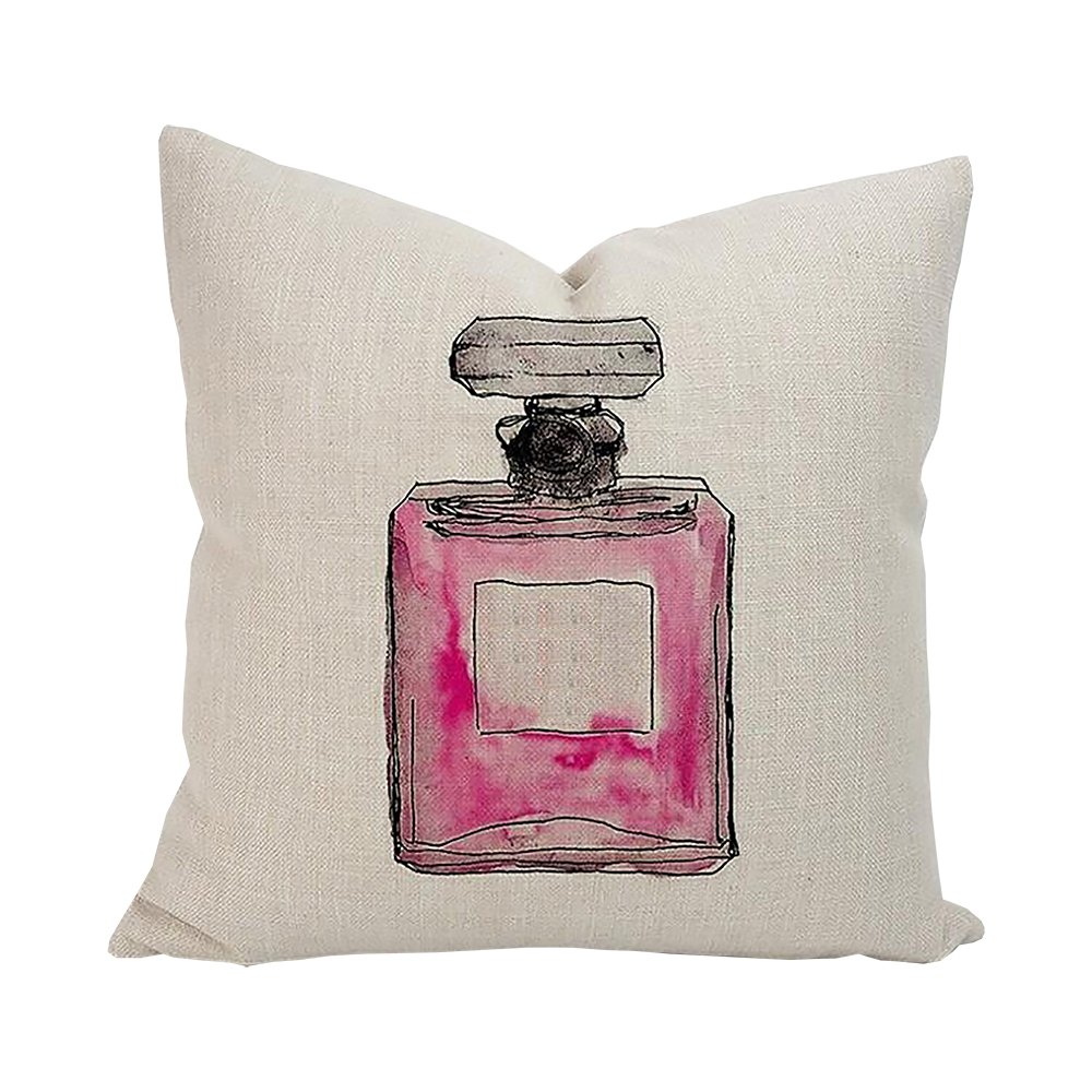 ME COO Modern Fashion Watercolor Perfume Lipstick Bottle Flower Styles Pillow Case Throw Cushion Case Cojines Wedding Gift Pillow Covers 18 x 18Inches ...