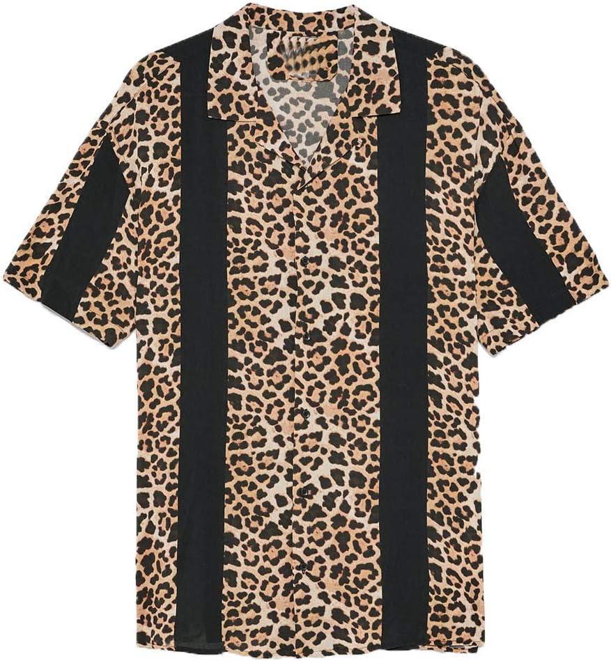 SMILEQ Blusa de Hombre Camisas de Moda de Verano Camisas a Rayas Ocasionales Camiseta de Manga Corta con Estampado de Leopardo: Amazon.es: Deportes y aire libre