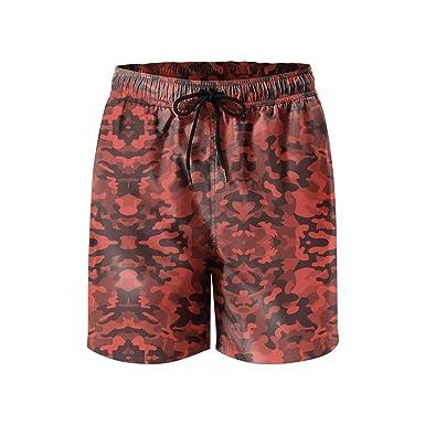 XULANG Men s Orange camo Flame Beach Shorts Running Training Stretch  Boardshorts  21218b8bf65