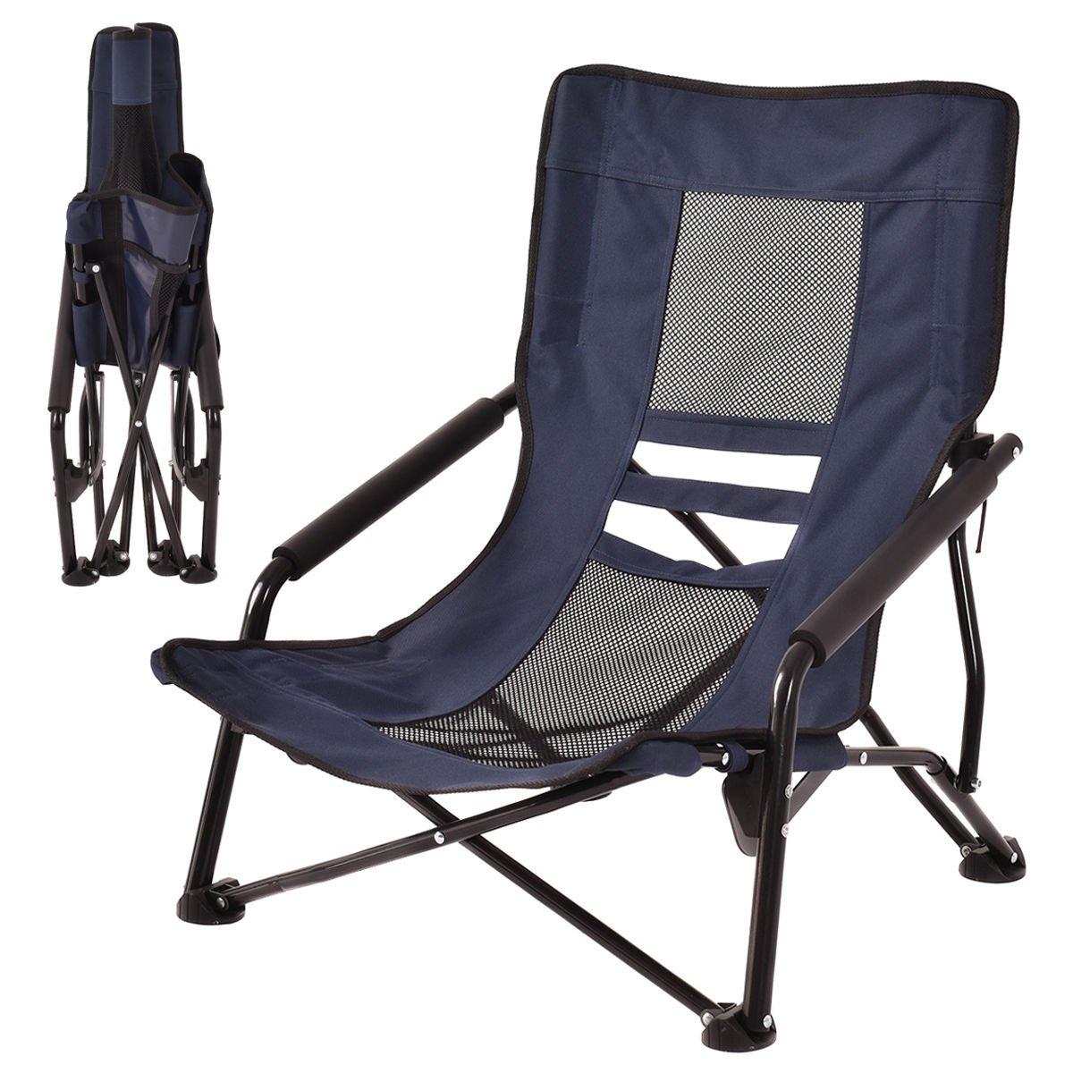 アウトドアハイバック折りたたみビーチ椅子キャンプ家具ポータブルメッシュシートネイビー B073Z33SDX