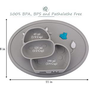 Qshare乳幼児用のベビープレートお食事用ミニマット 赤ちゃんランチョンベビープレート離乳食 食器 ピッタリ吸着 ひっくり返らない 幼児 子供 適用 BPAフリー 滑り止め シリコン製ベビー食器