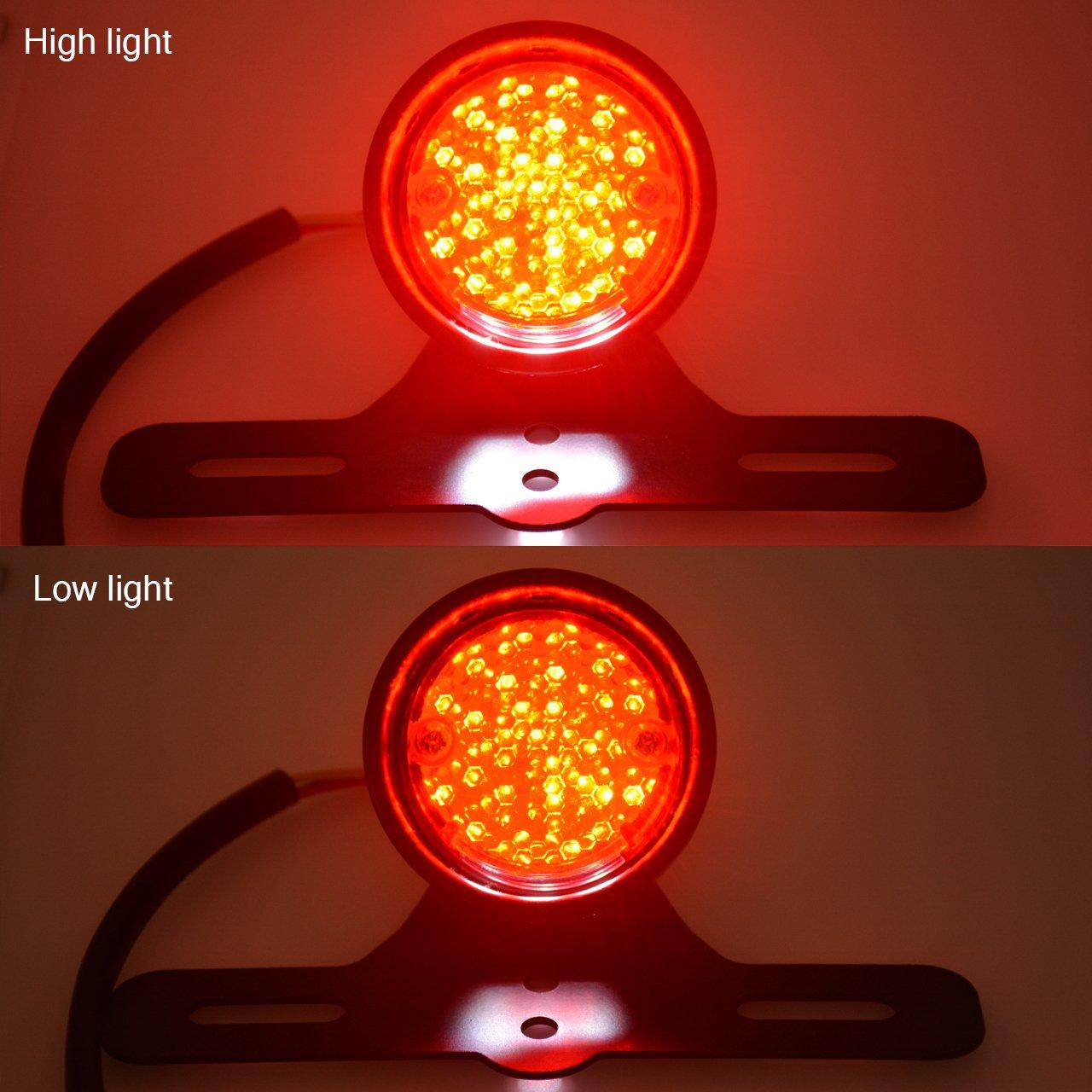 TUINCYN Motorcycle Integrated LED Tail Light with License Plate Holder Bike Retro Taillight LED Rear Stop Lamp Running Light for Harley-Davidson Harley Bobber Chopper Racer Cruiser
