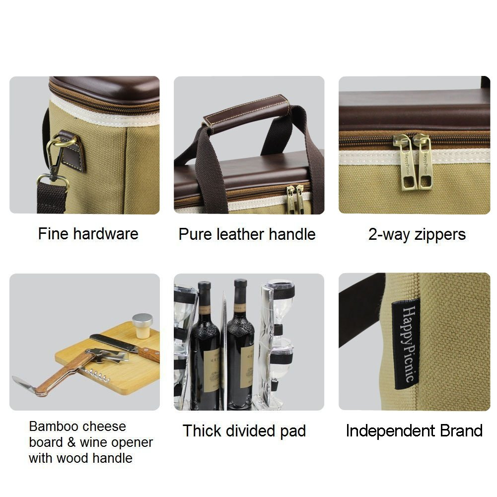 3 Bottle Heavy Duty Wine Cooler Bag/Insulated Wine Carrier for Travel/EVA Molded Champagne Carrying Tote/Wine & Cheese Set with 4 Glasses, Wine Opener & Stopper, Bamboo Cheese Board and Knife by HappyPicnic (Image #7)