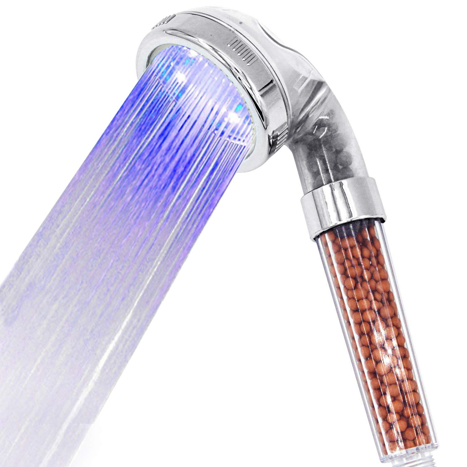 LED Shower Head Handheld, High-Pressure Water Saving Negative Ionic Double Filter Showerhead for Dry Hair & Skin SPA! 3 Color Changes YUUVE