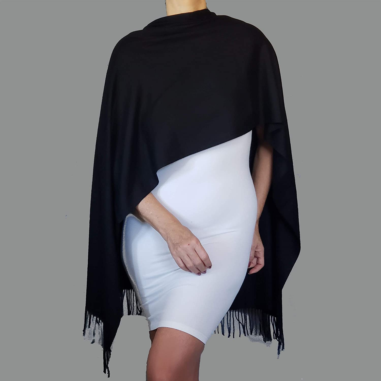 Soft Black Poncho Shawl Fall Cashmere Feel Scarf Wrap Winter Evening Wear By ZiiCi