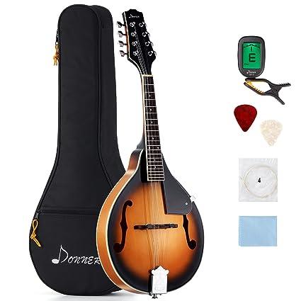 Donner - Mandolina DML-1 Sunburst en caoba con afinador, cuerdas, bolsa y