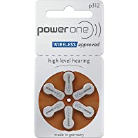 Power One Size 312 Hearing Aid Battery No Mercury, 60 Batteries