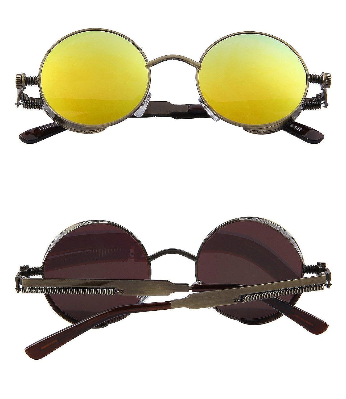 RONSOU Steampunk Stil Rund Vintage Polarisiert Sonnenbrillen Retro Brillen UV400 Schutz Metall Rahmen gold rahmen/grün linse V9KCAAceMJ