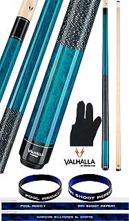 product image for Valhalla by Viking 2 Piece Pool Cue Stick Blue VA113 Irish Linen Wrap 18-21 oz. Plus Billiard Glove & Bracelet
