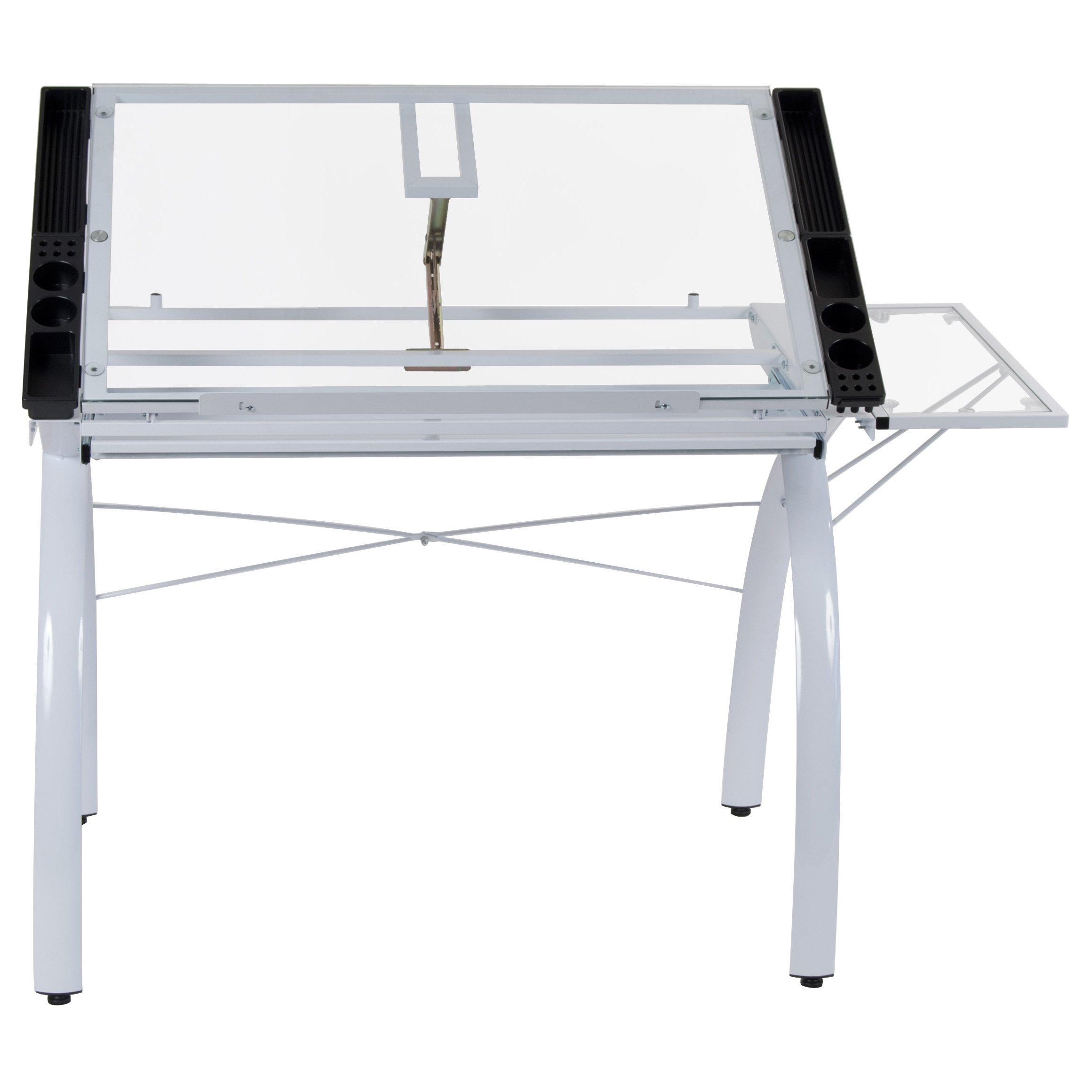 Modern Contemporary Drafting Hobby Craft Station Table with Adjustable Tempered Glass Top with Folding Shelf - Includes Modhaus Living Pen (White) by ModHaus Living (Image #2)