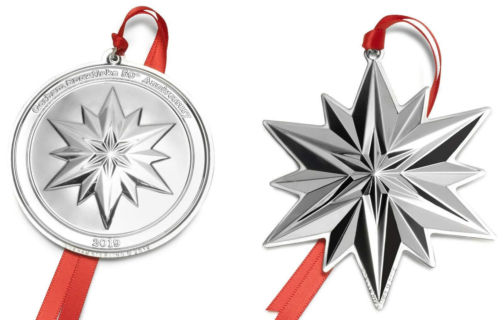 Gorham 2019 Snowflake 50th Anniversary 2pc Collectors Set Holiday Ornament, Metal