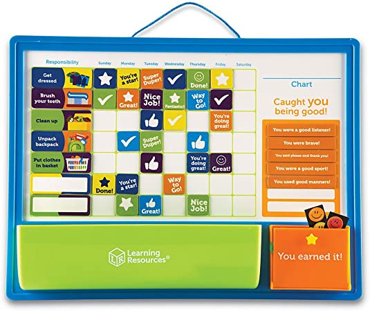 Learning Resources Good Job Reward Chart, Custom Magnetic Chore & Responsibility Chart for Kids, 91Piece Set, Ages 3+