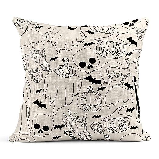 Kinhevao Cojín Blanco y Negro Patrón de Halloween Vampire ...