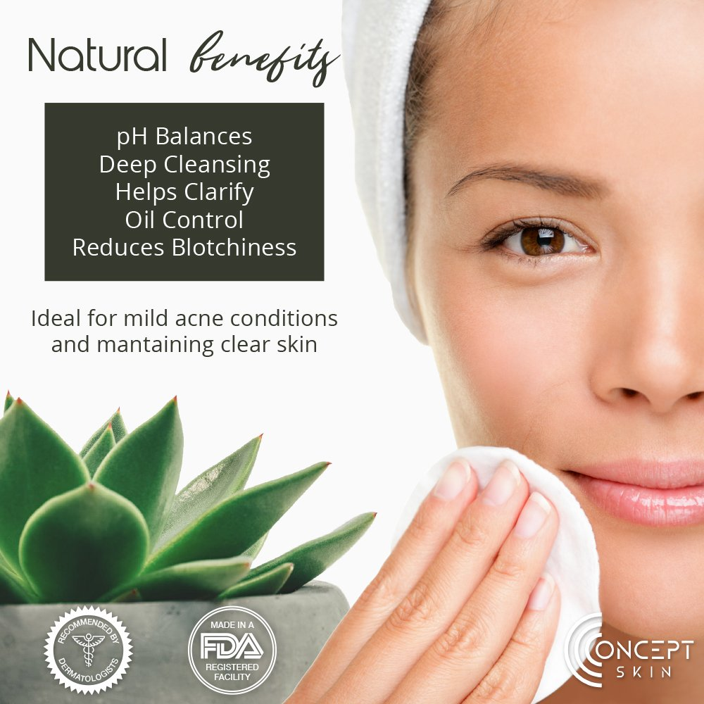 Best Hormonal Acne Treatment - Oily Skin Control and Adult Acne Regimen. 3-Step System Includes Cleanser, Mattifying Moisturizer and Toner with Tea Tree & Salicylic Acid. Sample Set. by CONCEPT SKIN (now Lauda Botanicals) (Image #7)