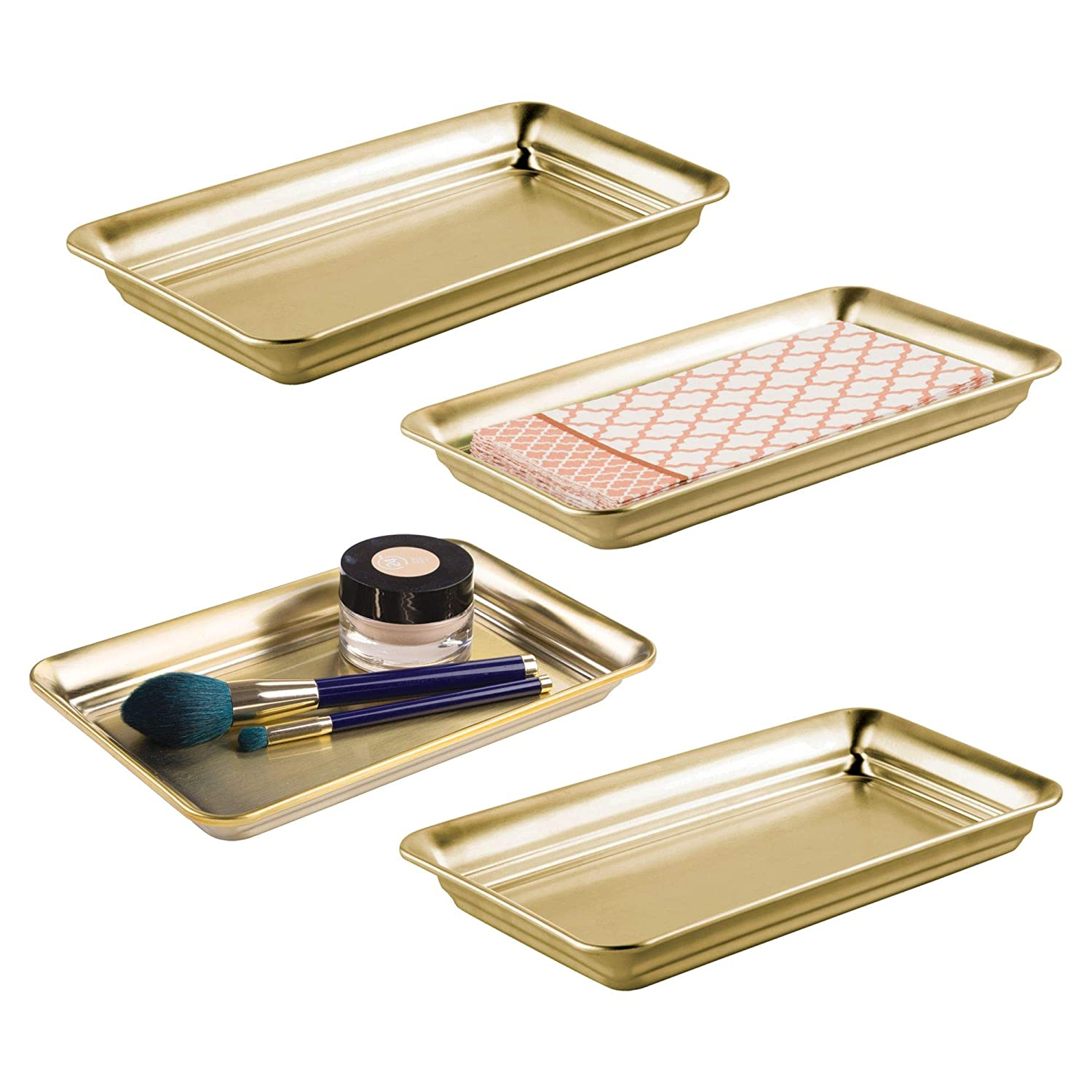 mDesign Metal Storage Organizer Tray Bathroom Vanity Countertops, Closets Dressers - Holder Guest Hand Towels, Jewelry, Makeup Brushes, Reading Glasses - Pack of 4, Soft Brass MetroDecor